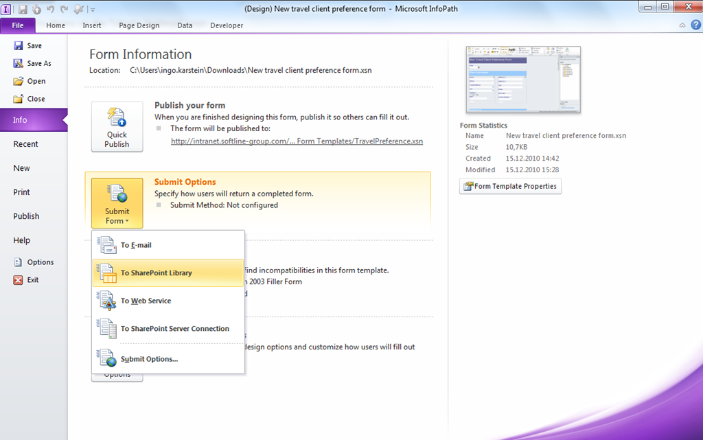 Walkthrough: Create Form with InfoPath and use it in a SharePoint ...